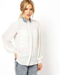 Asos Shirt with Double Pocket and Tickly Collar - Lyst