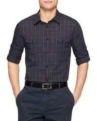 Calvin Klein Plaid Sportshirt black - Lyst