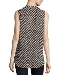 Nikkies Threads - Herringbone-print High-low Sleeveless Blouse - Lyst