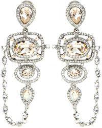 Oscar de la Renta Pave Frame Crystal Clip-On Earrings - Lyst