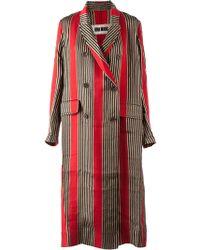 Uma Wang Long Striped Double Breasted Coat - Lyst