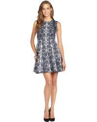 Nanette Lepore Reptile Navy and White Cotton Blend Woven Print Love Bites Dress - Lyst