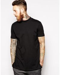 Asos Longline T-shirt with Turtleneck and Roll Sleeves - Lyst
