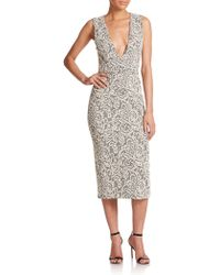 alice + olivia Lilia V-Neck Lace-Print Dress beige - Lyst