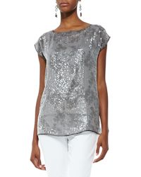 Eileen Fisher Short-Sleeve Silk Shimmer Top - Lyst