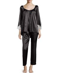 8f44d24270 Oscar de la Renta - Lace Luster 3 4-Sleeve Pajama Set - Lyst