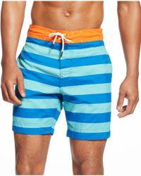 Tommy Hilfiger Striped Swim Trunks blue - Lyst