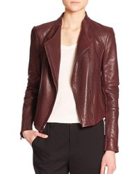 Vince Leather Moto Jacket purple - Lyst