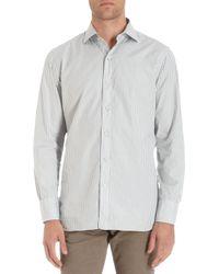 Camoshita Border Dotted Striped Spread Collar Shirt - Lyst