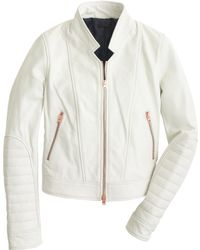 J.Crew Collection Standing-Collar Leather Jacket - Lyst