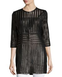 Grayse | Leather-Stripe 3/4-Sleeve Coat | Lyst