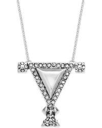House Of Harlow Silver-tone Crystal Triangle Pendant Necklace - Lyst