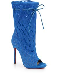 Christian Louboutin Jennifer Perforated Suede Open-Toe Boots - Lyst