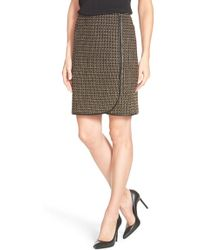 Adrianna Papell - Tweed Faux Wrap Pencil Skirt - Lyst