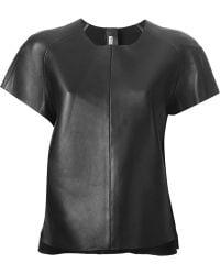 Acne Studios Black Leather Tshirt - Lyst