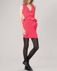 Maje Red Dress  Peplum - Lyst