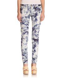 Polo Ralph Lauren Indigo Floral-Print Skinny Jeans - Lyst