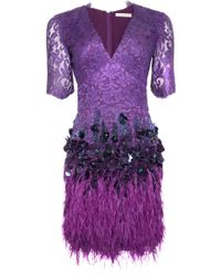 Matthew Williamson | Purple Lacquer Lace Feather Dress | Lyst
