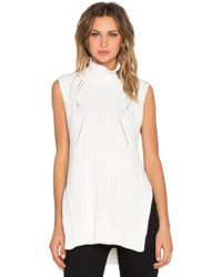 1.STATE - Sleeveless Turtleneck Mixed Cable Sweater - Lyst