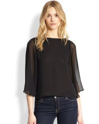 Alice + Olivia Sheer Fluttersleeved Top - Lyst