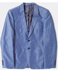 Paul Smith Blue Chambray Cotton/Linen Jacket - Lyst