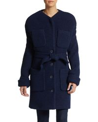 Cacharel Ribbed Wool-Blend Coat - Lyst