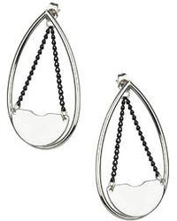 Topshop Clean Oval Chain Front To Back Earrings black - Lyst