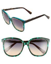 Oscar de la Renta - '215' 54mm Sunglasses - Turquoise Tortoise - Lyst