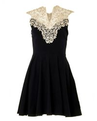 Ax Paris Crochet Neck Skater Dress - Lyst