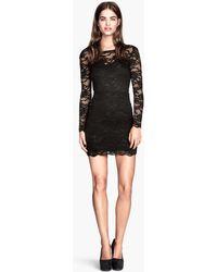 H&M Black Lace Dress - Lyst