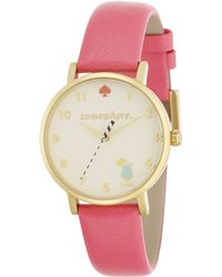 Kate Spade Novelty Metro Happy Hour Enamel, Goldtone Stainless Steel & Leather Strap Watch pink - Lyst