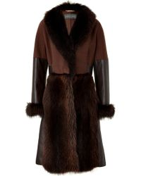 Alberta Ferretti Mixed Media Wool Coat - Lyst
