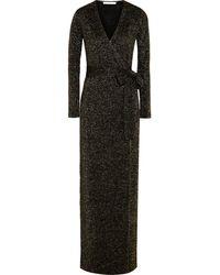 Diane Von Furstenberg Emma Metallic Woolblend Wrap Maxi Dress - Lyst