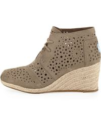 TOMS Moroccan Cutout Suede Wedge Boot - Lyst