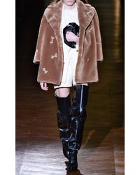 Carven Faux Fur Coat with Arrow Embroidery - Lyst