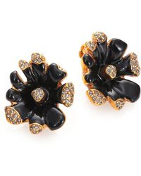 Oscar de la Renta Orchid Crystal Clip-On Earrings - Lyst