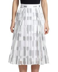 Milly Cubist Fil Coupe Midi Skirt gray - Lyst