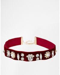 Asos Limited Edition Velvet Stone Choker Necklace - Lyst