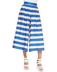 Alice + Olivia High-Waist Striped Pleated Culottes - Lyst