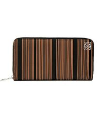 Loewe Striped Leather Zip-Around Wallet - For Women brown - Lyst
