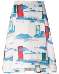 OSMAN Pleated And Printed Skirt - Lyst