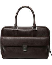 Giorgio Armani | Saffiano Embossed Leather Briefcase | Lyst