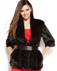 Calvin Klein Faux Fur Belted Jacket - Lyst