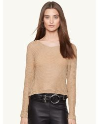 Ralph Lauren Open-Knit V-Neck Top - Lyst