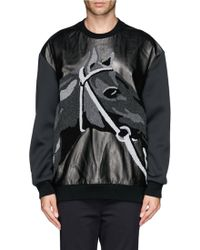 3.1 Phillip Lim Leather Horse Embroidery Bonded Jersey Sweatshirt - Lyst