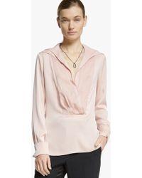 Halston Double Collar Silk Georgette Top - Lyst