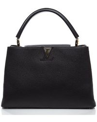 Louis Vuitton Preowned Black Taurillon Capucines Mm Bag - Lyst