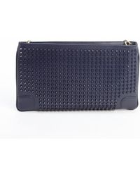 Christian Louboutin Navy Leather Loubiposh Studded Detail Shoulder Bag - Lyst