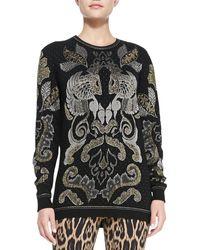 Roberto Cavalli Metallic Baroque Jacquard Sweater - Lyst