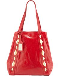 Badgley Mischka Terri Studded Shine Leather Tote Bag - Lyst
